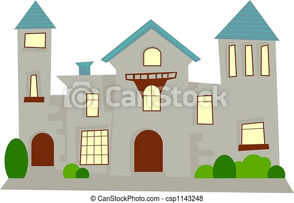 Stock illustration of mansion simple generic statley for Easy to draw mansion