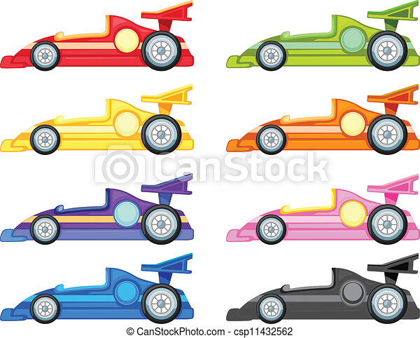 Clip Art Vector Of Racing Car Illustration Of Various Cars On A