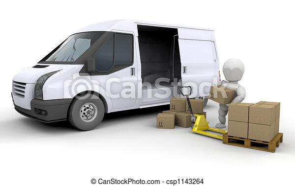 Unloading a van - csp1143264