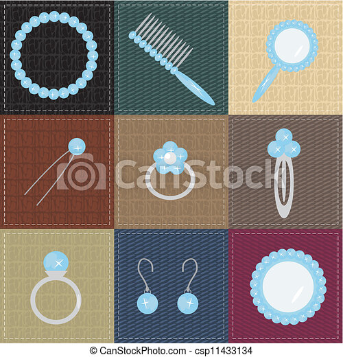 set with lady objects - csp11433134