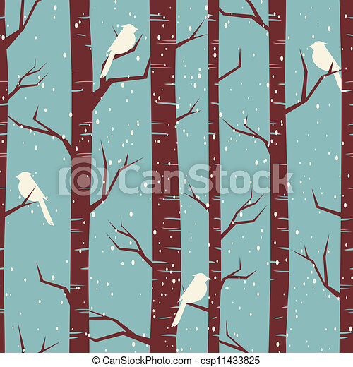Winter Birch Forest - csp11433825