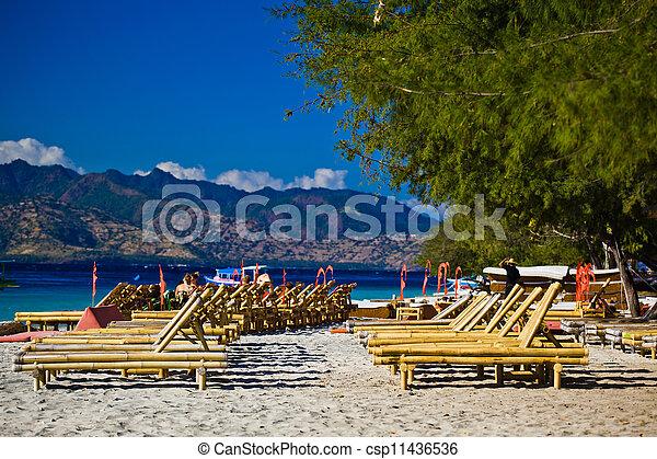 Stock photos of chaise longue at the beach travangan gili for Beach chaise longue