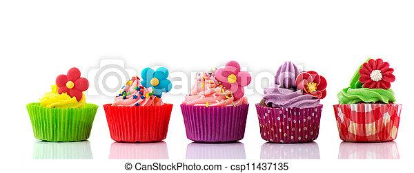 stock fotos von blumen cupcakes bunte reihe bunte cupcakes mit csp11437135 suchen. Black Bedroom Furniture Sets. Home Design Ideas