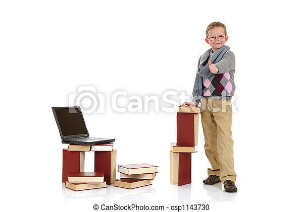 Eight year young boy studying - csp1143730