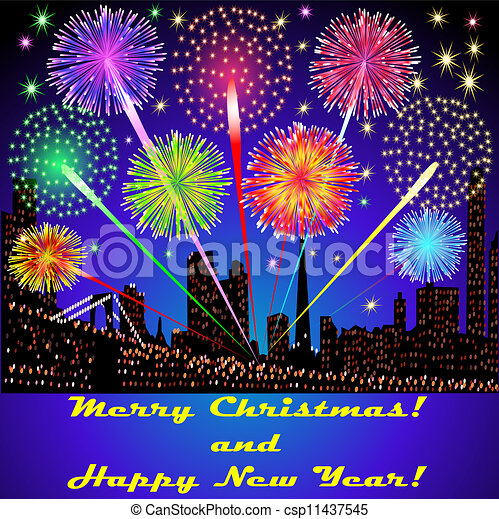 illustration of the festive fireworks outside above the buildings in Christmas - csp11437545