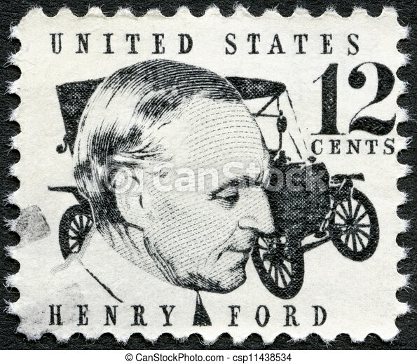 UNITED STATES OF AMERICA - CIRCA 1968: A stamp printed in USA shows Henry Ford (1863-1947) and car Ford Model T from 1909, circa 1968 - csp11438534