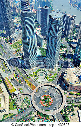 Shanghai aerial in the day - csp11439507