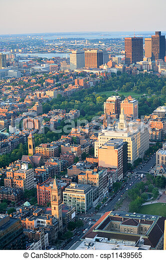 Boston street aerial view - csp11439565
