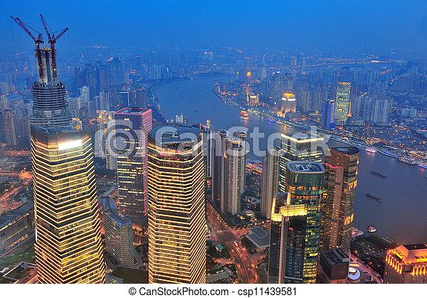 Shanghai aerial at dusk - csp11439581