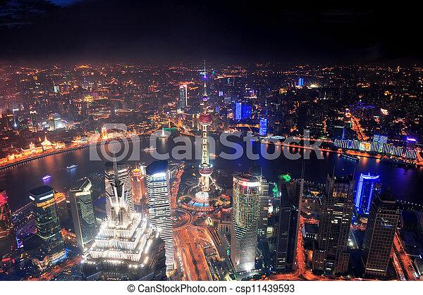 Shanghai night aerial view - csp11439593