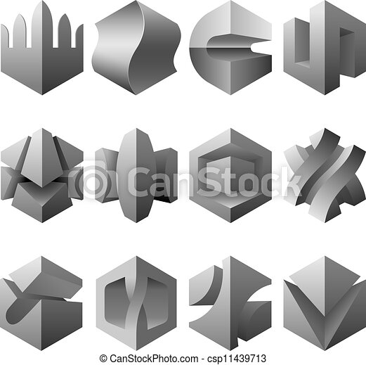 Vector Clip Art Of Abstract 3d Objects Set Vector