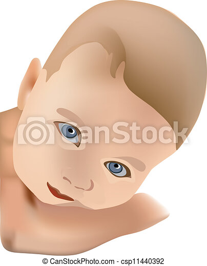 EPS Vectors of baby face, kid, portrait of child - baby face, kid ...