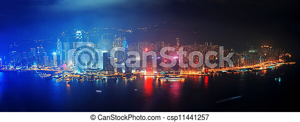 Hong Kong aerial night - csp11441257