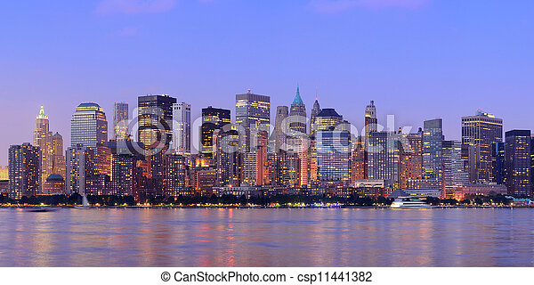 New York City Manhattan dusk panorama - csp11441382