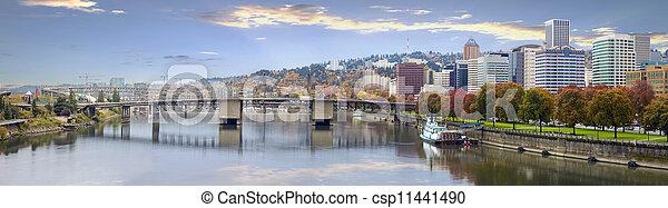 Portland Oregon Downtown Skyline and Bridges - csp11441490