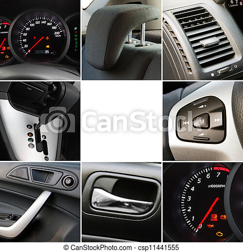 Collage of car interior details - csp11441555