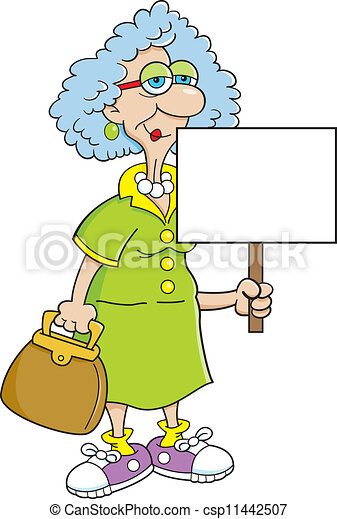 Senior citizen lady with a sign - csp11442507