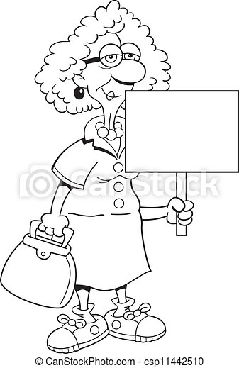 Stock illustrations senior citizen lady with a sign stock clipart - Vector Clip Art Of Senior Citizen Lady With A Sign Black
