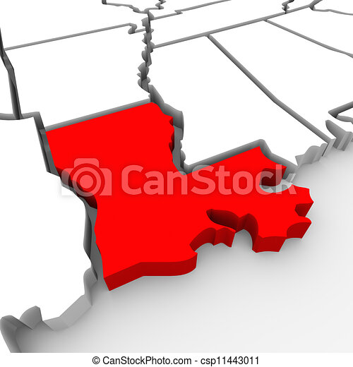 Clipart of Louisiana Red Abstract 3D State Map United States ...
