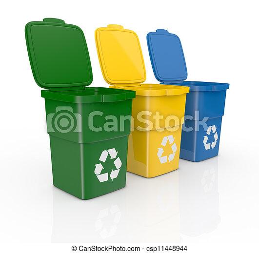 Dessin de recyclage casiers une rang de trois - Poubelle trois compartiments ...