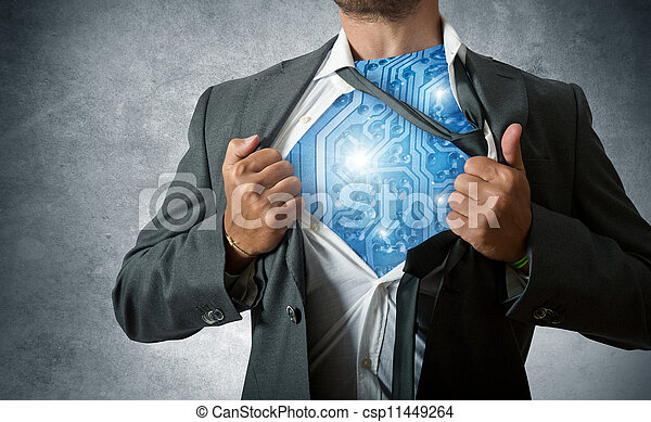 tecnologia, eroe super - csp11449264