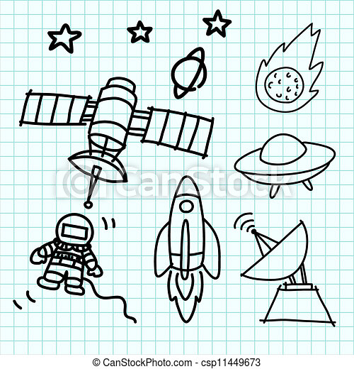 Vectors Illustration of Space set hand draw on graph paper ...