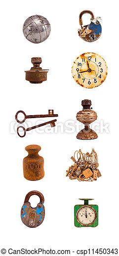 assorted old objects and tools collection on white - csp11450343