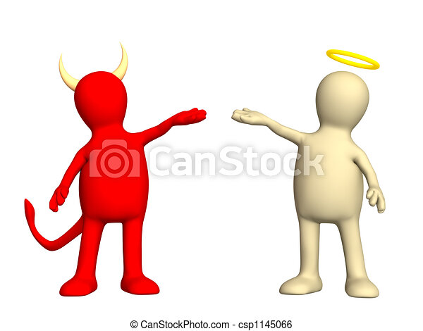 Angel and devil -  kindness and evil - csp1145066