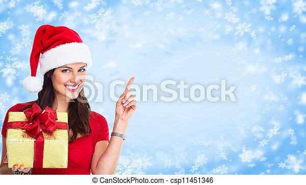 Christmas Santa woman with gift. - csp11451346