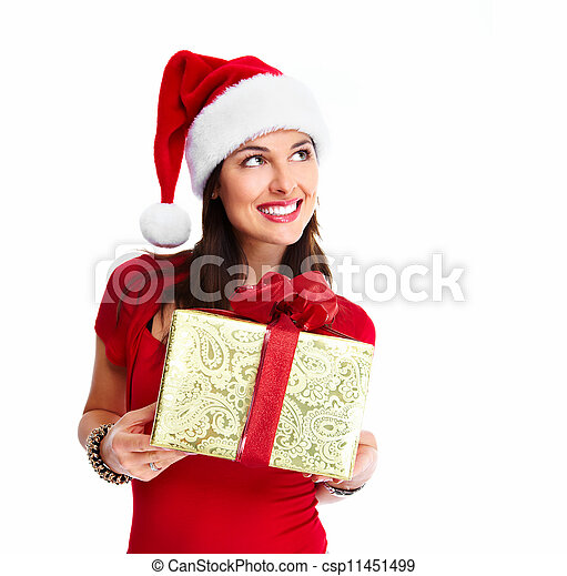 Christmas santa woman with gift. - csp11451499