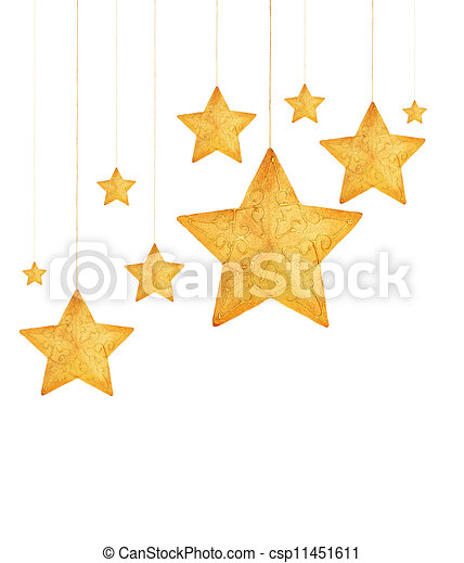 Golden stars Christmas tree ornaments - csp11451611