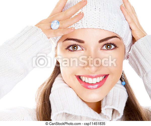 Portrait of beauty woman in white cap and pullover. Happy smile - csp11451835