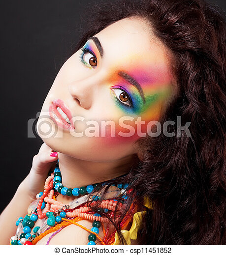 Creative colorful makeup - fashion beauty woman painted face - csp11451852