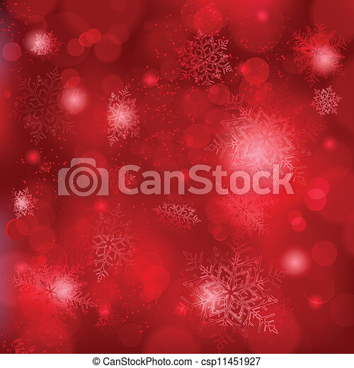 Beautiful soft red snowflake background with bokeh lights - csp11451927