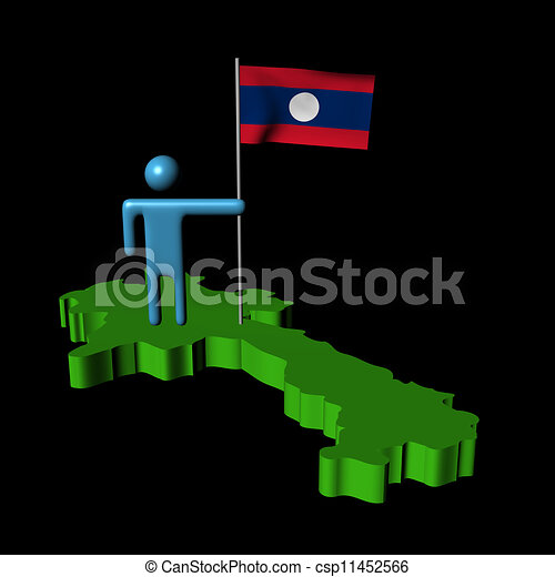person with flag on Laos map illustration - csp11452566