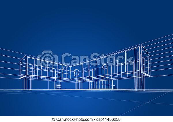 blåkopia, arkitektur - csp11456258
