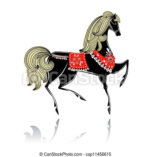 Decorative beautiful horse Khokhloma - csp11456615