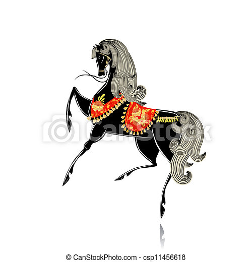 Decorative beautiful horse Khokhloma - csp11456618