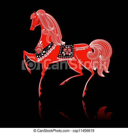 Decorative beautiful horse Khokhloma - csp11456619