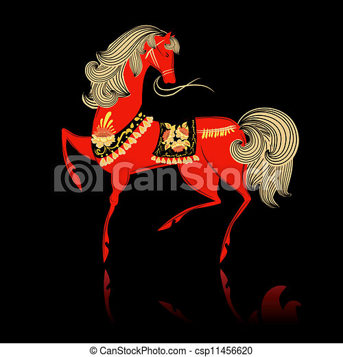 Decorative beautiful horse Khokhloma - csp11456620