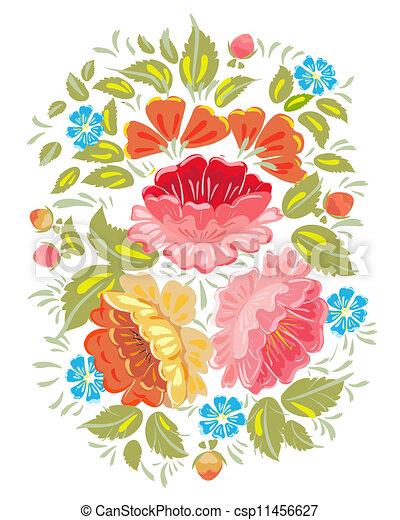 Flower ornamet style Khokhloma - csp11456627