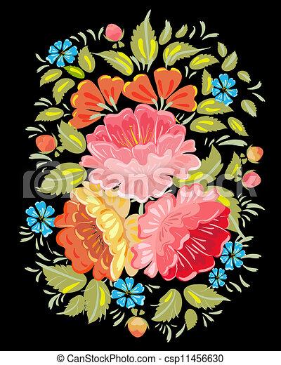 Flower ornamet style Khokhloma - csp11456630