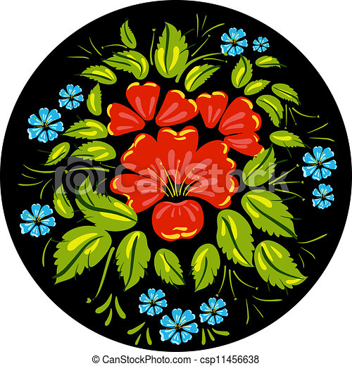 Flower ornamet style Khokhloma - csp11456638