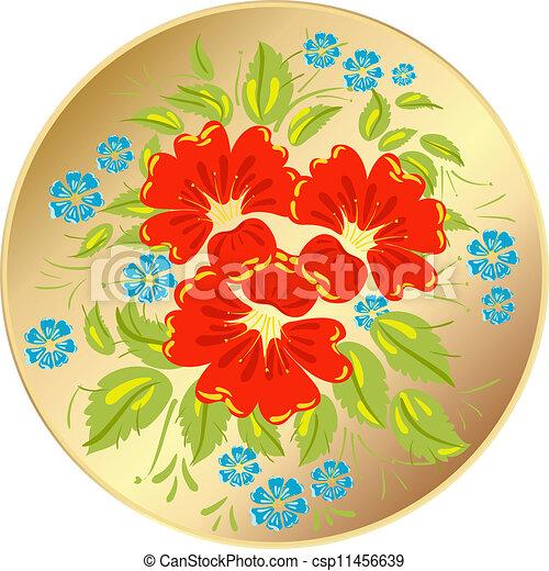 Flower ornamet style Khokhloma - csp11456639