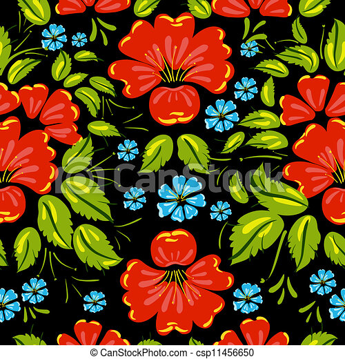 background seamless style Khokhloma - csp11456650