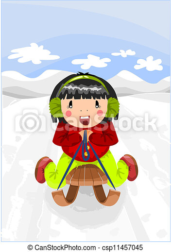 Relax time - girl on the wooden sled.