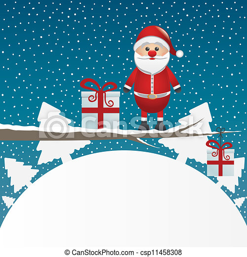 santa figure on branch snowy winter - csp11458308