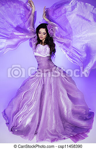 Fairy. Beautiful Girl in Blowing Dress. Fashion Art photo - csp11458390