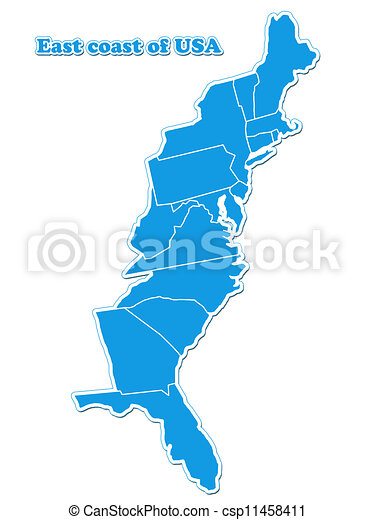 Clipart of USA east coast map isolated on white background csp11458411 ...