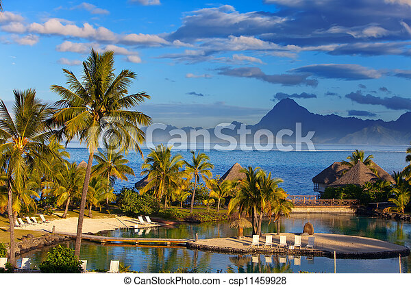 Ocean at sunset. Polynesia. Tahiti.